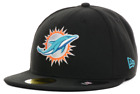 MIAMI DOLPHINS BLACK NEW ERA 59FIFTY FITTED BASEBALL NFL CAP HAT AUTHENTIC on eBay