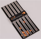 5 Pairs Stainless Steel Chopsticks Set Reusable Classic Style for Kitchen