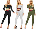 Womens Striped Off Shoulder Long Sleeve Rib Crop Top Leggings Ladies Co-Ord Set