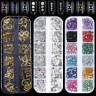 AB Color Nail Art Rhinestone Clear Flat Bottom Multi-size Manicure Gold Rivets