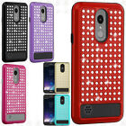 For LG Tribute Dynasty HYBRID IMPACT Diamond Layered Case Phone Cover