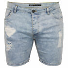 Mens Ripped Denim Shorts Brave Soul 'Holiday' Blue Wash Faded Jeans Pants Summer