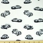 100% Cotton Poplin Fabric by Fabric Freedom Vintage Classic Cars Vehicles Car