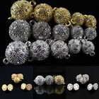 5pcs Clear Czech Crystal Silver Round Ball Magnetic Clasp Beads For DIY Bracelet