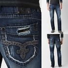 Rock Revival Jeans Relaxed Straight Mid Rise Luckett 28 29 30 31 32 33 34 36 38