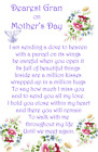 Mother's Day graveside Memorial Bereavement Card Mum Mam Grandma Nan MD35