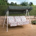 Londra 3 Seater Garden Swing Seat - White Frame with Classic Cushions