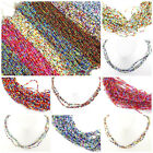 "Multi-Color Seed beads Long Necklace 22-24"" Orange Blue Green Red FREE SHIPPING image"