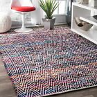 Kyпить nuLOOM Hand Made Contemporary Striped Cotton Blend Area Rug in Pink, Red, Blue на еВаy.соm