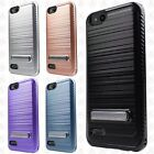 ZTE Blade Vantage Brushed Kickstand Shockproof Carbon Fiber Case +Screen Guard