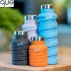 Que Collapsible Eco Reusable Travel Water Gym Bottle 660ml All Colours