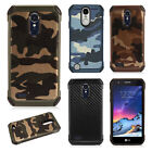 For LG Tribute Dynasty Rubber IMPACT TRI HYBRID Case Skin Cover + Screen Guard