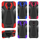 For T-Mobile Revvl Plus Layer HYBRID KICKSTAND Rubber Case Phone Cover Accessory