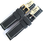 DARLENA 1359 BLACK 20mm PARALLEL STITCHED LEATHER WATCH STRAP GOLD OR SILVER