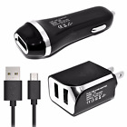 T-Mobile HTC Phones USB 2.1 Amp Wall+Car Charger+Data Cable BLACK