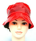 LADIES 60s STYLE PVC RAIN HAT 4 SIZES CLEAR RED FR15