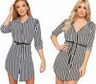 Womens Belted Striped Print Crepe Shirt Mini Dress Ladies Long Sleeve Button