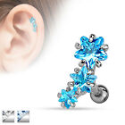 Triple Gem Stars Tragus Cartilage Upper Ear Piercing Stud Top Earring 16ga 1.2mm