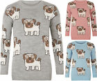 Womens Multi Pug Dog Print Long Sleeve Crew Neck Knitted Top Ladies Jumper 8-16