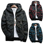 Casual Men Camo Thin Zipper Hooded Loose Jacket Wind Breaker Coat Tops Outwear