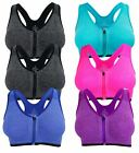 6 Pack Womens Sports Bras Front Zipper Removable Pads Seamless Wirefree Yoga
