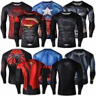 Men Compression T-Shirt Marvel Superhero Superman Top Long Sleeve Fitness Wear image