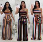 Sexy Womens Crop Colored Print Pants Set Clubwear Casual 2pcs Jumpsuit Playsuit