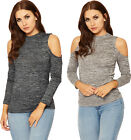 Womens Knitted Long Sleeve Top Ladies High Turtle Neck Cut Out Cold Shoulder
