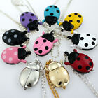 Colorful Ladybug Pendant Necklace Quartz Watch Party Gift Fashion Watches GL02 image