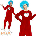 Thing 1 or 2 Adult Fancy Dress Cat in the Hat Dr Seuss Book Day Week Costume New