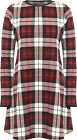 Womens Long Sleeve Check Tartan Short Flared Ladies Swing Dress 8-14