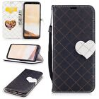 Black Cute love Magnetic buckle Leather strap mix color Cover Case For phone