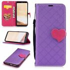 Purple Cute love Magnetic buckle Leather strap mix color Cover Case For phone