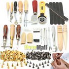 24 DIY Leather Craft Tools Kit Set Hand Sewing Stitching Punch Carving Work USA