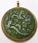 ANTIQUE / VINTAGE CHINESE CARVED SPINACH GREEN JADE 18K GOLD NECKLACE PENDANT