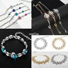Women Fashion Heart/Round/Water Drop/Flower Rhinestone Metal Chain RR6
