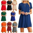 New Women Casual Solid Color Short Sleeve Tunic Top Shirt Blouse Dress Plus Size