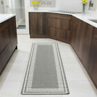 Grey Silver Traditional Long Narrow Runners Non Slip Anti Fatigue Hallway Runner
