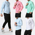Mens Fashion Shirts Long Sleeve Slim Fit Party Weeding Stars Print Casual Shirts