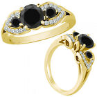 0.5 Ct Black Diamond Three Stone Engagement Wedding Fancy Ring 14K Yellow Gold