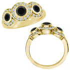 1.5 Ct Black Diamond Fancy Halo 3 Stone Engagement Bridal Ring 14K Yellow Gold