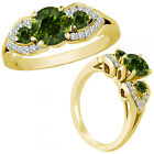 1.25 Ct Green Diamond Three Stone Engagement Wedding Fancy Ring 14K Yellow Gold