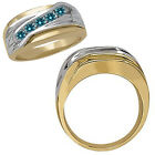 0.5 Carat Blue Classy Diamond Channel Man Ring 14K White Yellow Two Tone Gold