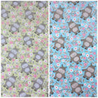 Cuddly bear blue & green polycotton fabric sold per half metre 112cm wide