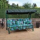 Roma 3 Seater Garden Patio Swing Seat - Green Frame With Classic Cushions