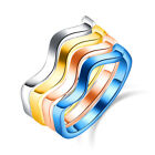 Fashion Women's Stainless Steel Wave Rings Female Birthday Valentine's Day Gifts