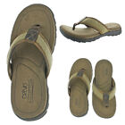 Crevo Latte Men's Leather Flip Flop Sandals