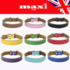 Real Leather Pet Dog Cat Puppy Collar UK - 5 Sizes - 9 Colours - UK SELLER