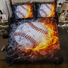 Hot Flame Baseball Quilt/Duvet Cover Set Twin Size + One Pillowcase Bed Set New