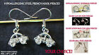 Crystal VW Bug Earrings Car *Options* Charm Hypoallergenic Pierced OR Clip On